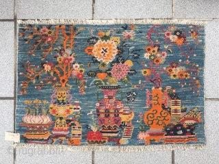 #2088 Tibet rug, blue background with Bogu pattern. Many kinds of antique display goods and lucky flowers and fruits vines which symbolize safe, longevity and good fortune. Good age and quality. Size  ...
