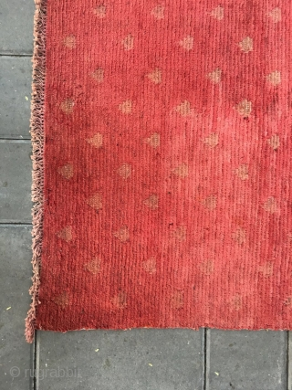 "#2090 Tibet rug, big red square  rug, full of Buddha fingers pattern. Good age. Size 75*80cm(29*31"")"