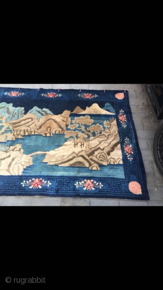 "Baotou carpet, very nice blue color with mountain water pattern, strong three-dimensional sense, it like a painting, very beautiful. Flowers selvage, very good age. Complete one no any repair. Size 250*170cm(98*66"")"