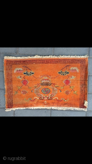 Tibetan mat, nature orange color with double fishes veins. Used by lama sleeping pillow . Good condition. Size 65*45cm
