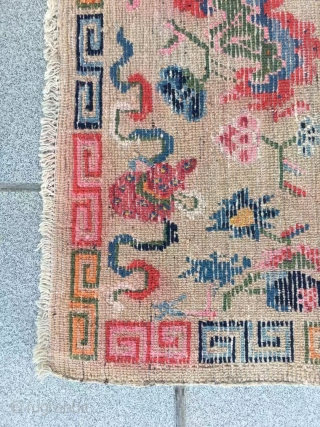 """Tibet rug, light camel background with Buddha eight treasures pattern. Size 153*82cm(60*32""""). Good age and condition."""