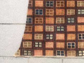 """Tibet yak saddle rug, colorful checker board veins, very rare nice one. Wool warp and weft. Size 90*115*h90cm(35*45*35"""")"""