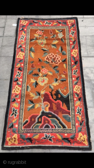"""Tibet rug, yellow background with beautiful flowers veins. Good age and condition. Size 80*160cm(31*62"""")"""