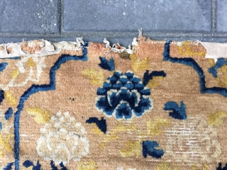 #1808 Ningxia rug, it was produced in middle of Qing Dynasty. backrest rug, light camel background with lotus flowers pattern. size 65*48cm(25*19'')