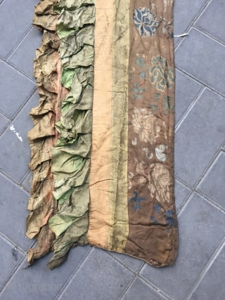 Tibetan draperies,it hanging on the top of the wall in Tibetan temple. handmade silk fabrics, colorful  buddhist lotus patterns, and also have shallow lotus flowers on the two narrow strips in  ...