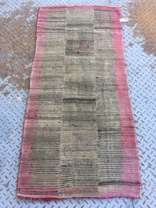"""Tibet rug, nice green color with red selvage, good age and condition. Size 71*152cm(28*59"""")"""