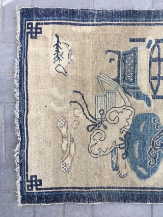 """Chinese Baotou rug, light camel backs with antique Bogu veins, vase, Peony, Ruyi, bonsai as well as the text are allegorical spring, sunshine good luck. Good age and condition. Size 96*165cm(37*64"""")"""