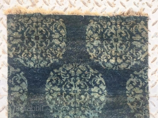 "Tibet rug fragment, rare blue background with green group flowers . Good age more than 100 years old. Size 60*48cn(23*19"")"