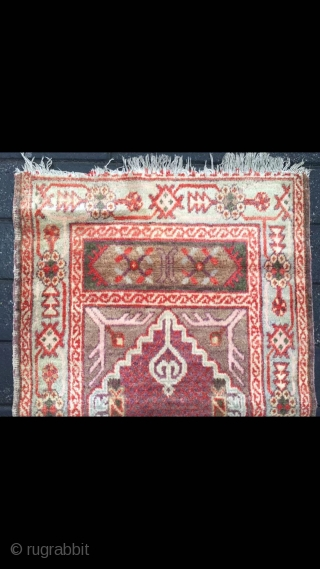 "Uighur Xinjiang rug, For xinjiang Muslims to worship. Good age. Size 78*130cm(30*50"")"