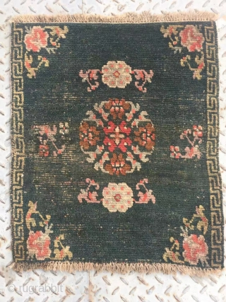 "Tibet rug, very nice green color with single group flower pattern. Good age. Size 64*52cm(25*20"")"