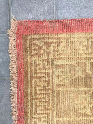 """Tibet rug, yellow background with full of lotus pattern. More than 150 years old. Wool warp and weft, no any repair. Size 80*152cm(31*59"""")"""
