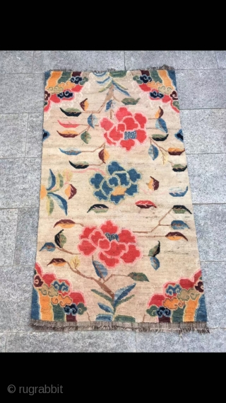 "Tibetan rug, Ivory white color , nice three flower and lucky clouds veins. Wool warp and weft. Good age and condition. Size 80*155cm(31*60"")"