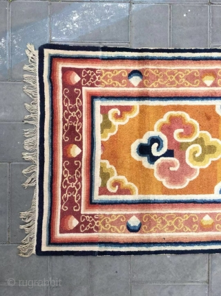 Ningxia rug, yellow-camel background with colorful lucky cloud pattern, around with lucky cloud selvage. Good age and condition. Size 161*76cm