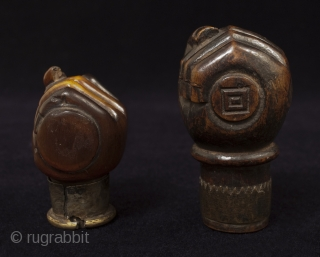 """Opium pipe bowls. Yunnan Province, Southwest China. 19th century.  #8206 Horn, brass. 2"""" high (5 cm)  #8207 Boxwood, brass. 3"""" high (7.5 cm)"""
