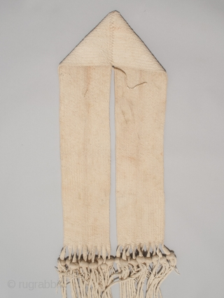 "Hopi rain sash, San Juan Pueblo, New Mexico. Hand woven cotton, corn kernels, mid 20th century, 94"" (238.6 cm) long by 5.5"" (14 cm) wide. Ex. private collection, New York.