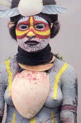 "Bailer shell pectoral, Mendi people, Papua New Guinea. Melo amphora shell, sennit. 8.5"" (21.6 cm) high. Late 19th/early 20th century Ex Douglas Dawson Gallery"