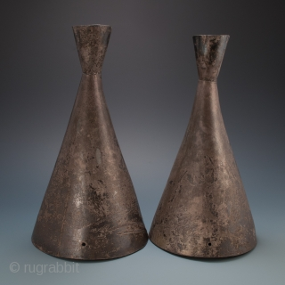 """Processional priest's hats, Chimu culture, Peru. Silver. 900-1100 A.D. #9869   11.25"""" (29.2 cm). #9870   11"""" (28 cm) high. Ex Fifi White, Berkeley, California.  These silver hats were originally covered with fabric, as can be seen  ..."""