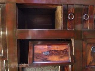 Antique Japanese Gifu Mizuya (Kitchen Chest) Persimmon Wood Accents   An antique Japanese Gifu Mizuya (kitchen chest) made of Hinoki (Cypress) and Suginoki (Cryptomeria) with Kakinoki (Persimmon) wood drawer fronts and sliding door panels.  ...