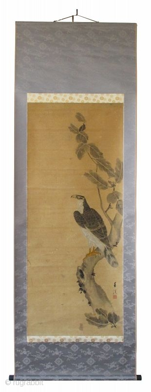 Japanese Antique Scroll Painting of a Hawk, signed Shunkei Antique Japanese scroll painting of a hawk standing on the branch of an oak tree. The hawk is detailed with great attention to every  ...