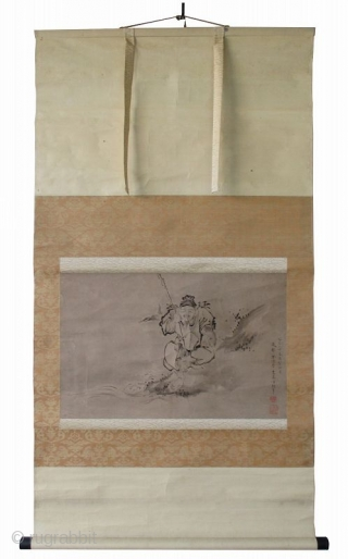 Japanese Antique Scroll Painting of Ebisu with Fish