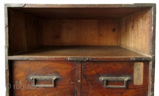 """Japanese Edo Keyaki Burl Bar Tansu An unusual Japanese Keyaki burl front bar tansu. The drawer faces are each labeled in Japanese kanji. The top """"drawer"""" is actually a lift away panel. The  ..."""