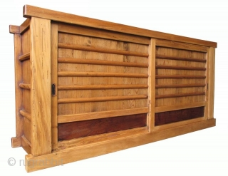 Japanese Antique Single Section Mizuya Antique Japanese single section mizuya (kitchen tansu) made of sugi (crytomeria) wood and finished a light natural color. The large single compartment is opened by two sliding panels  ...