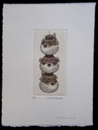 Hiroto Norikane Print of Puffer Fish Lanterns Japanese print by Hiroto Norikane (b. 1949-), aquatint of puffer fish lanterns, stacked and strung together. Numbered 132/300, titled, signed in pencil.   Dated 1981.   Dimensions: 7  ...