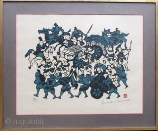 Japanese Framed Kappazuri Print by Yoshitoshi Mori Japanese kappazuri (stencil) print by the artist Yoshitoshi Mori depicting a scene with many figures, a group of samurai warriors on horseback and other figures wheeling  ...