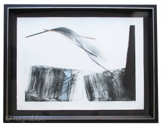 """Large Toko Shinoda print """"Reminiscence"""" Large Original Japanese framed print by Toko Shinoda (born 1913), entitled """"Reminiscence"""". Color lithograph with sumi-e ink brushwork in black, light blue and gold ink. Signed in pencil  ..."""