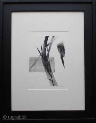 """""""Snow"""" print by Toko Shinoda Japanese lithograph print and sumi ink brush strokes by Toko Shinoda (born 1913) entitled """"Snow"""". From her series of prints also entitled """"Snow"""". Undated. Print number 4 of  ..."""