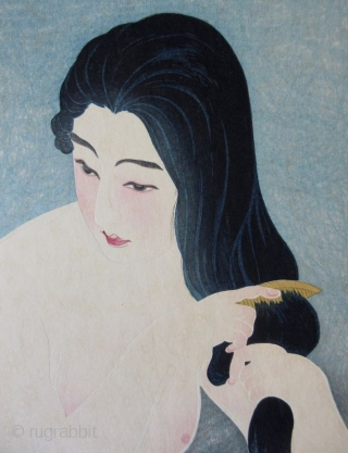 """Japanse Ukiyo-e Woodblock Print by Torii Kotondo Japanese woodblock print of a nude kneeling woman combing her hair, titled """" Combing in the Bath"""" by Torii Kotondo (1900-1976). From his """"12 Aspects of  ..."""