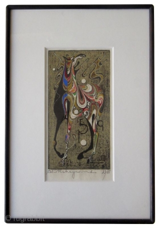 """Japanese Nakayama Woodblock Print of Horse Japanese framed woodblock print by Nakayama Tadashi of a stylized multicolored horse with gold and silver leaf. Signed in pencil, number 23/85.   Dated 1968.   Dimensions: 12"""" x  ..."""