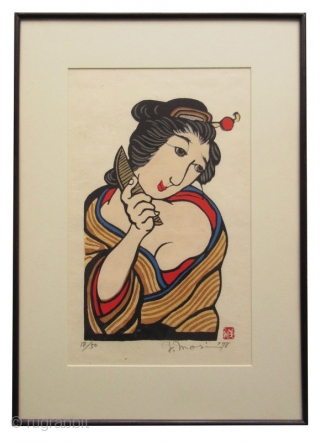 Japanese Framed Print by Yoshitoshi Mori Japanese framed print by Yoshitoshi Mori (October 31, 1898 - May 29, 1992). Depiction of a beautiful geisha combing her hair with bright pops of color. Number  ...