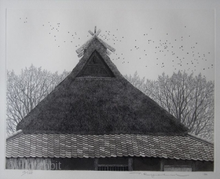 Rooftop and Birds Print by Tanaka Ryohei, etching and aquatint, 1994 A framed etching and aquatint print by Tanaka Ryohei. Scene of a thatched rooftop with a large flock of birds flying and  ...
