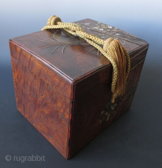 Japanese Antique Lacquered Keyaki Box with Garden Gate and Moon An Exquisite antique Japanese large box made of keyaki (elm) wood burl and decorated with a design of a bamboo garden gate, tall  ...