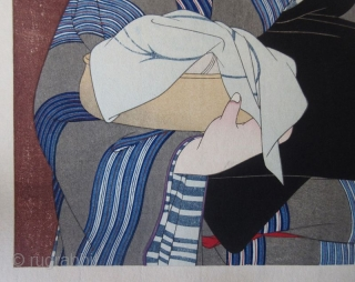 """Japanse Ukiyo-e Woodblock Print by Torii Kotondo Japanese woodblock print of a robed geisha emerging from behind a red cloth noren, titled """"After the Bath"""" by Torii Kotondo (1900-1976). From his """"12 Aspects  ..."""