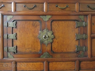 Korean Personal Single Section Cabinet Antique Korean single section cabinet made with elm wood and hardwood burl panels. Hardware is made of brass. Beautiful rich patina. The upper portion has four small drawers  ...