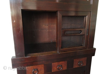 Antique Japanese section Mizuya Antique Japanese 2-section, 3ft. Mizuya. Constructed of Hinoki (cedar) and Sugi (cypress) hardwoods. Both the upper and lower section hold large storage compartments, one behind mesh sliding panels and  ...
