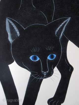 Japanese Nishida Tadashige Print - Black Cat
