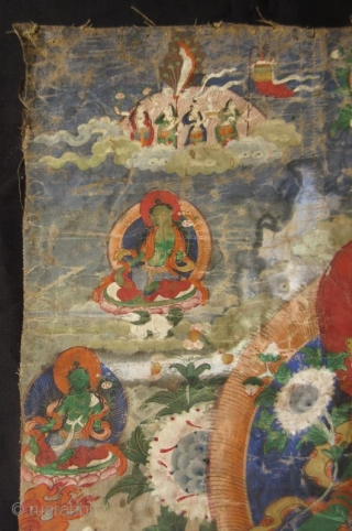 Tibetan 18th Century Green Tara Thangka Antique Tibetan thangka painting of Green Tara, one of the manifestations of the bodhisattva of protection. The central figure of Green Tara is flanked by bodhisattvas while  ...