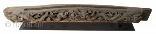 Massive Antique Chinese Architectural Wood Carving of Dragons An incredibly large and heavy hand carved wood architectural piece, with high relief carved pair of dragons on either side of a central ball of  ...
