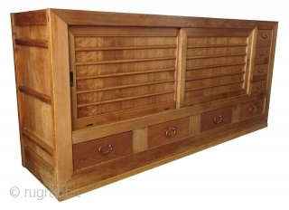 Antique Japanese Half Section Mizuya  Antique Japanese half section Mizuya, or kitchen buffet tansu, made of Hinoki (cypress) and Sugi (cedar) wood frame. The chest has bold Keyaki (elm) front drawers along the  ...