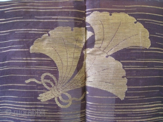 Japanese Noh Performer's Robe Suo with Gingko Motif   Extraordinary stunning Japanese robe of purple woven asa (hemp), with gold woven through in striations and bold gingko leaf design. The suou is the traditional  ...