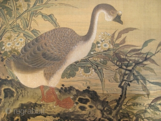 Chinese Scroll Painting of Geese by Zhu Gejian
