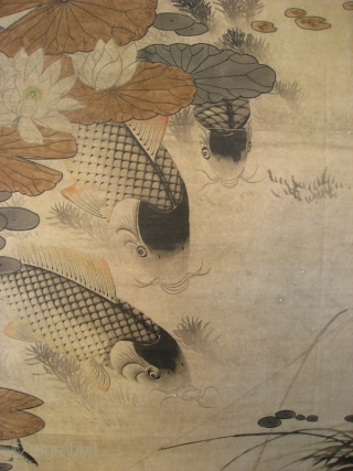Chinese Antique Carp Scroll by Li Fang Yin   Antique Chinese scroll painting of 5 large carp swimming in pond with lotus and other water plants. Painted in ink and light colors on paper.  ...