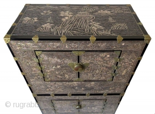 Rare Set of Korean Inlaid Ichung Nong Stacking Chests   Unusual pair of Korean inlaid black lacquer ichung nong stacking chests on stands. The interior of each section is lined in original blue paper.  ...