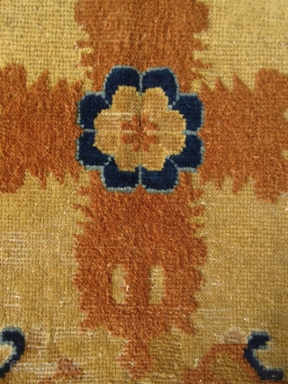 Ningxia Buddhist Vajra Seat Cover  Tibetan hand-woven seat cover, once would have used by a Buddhist priest. The region of Ningxia supplied the Buddhist monasteries of western China and Tibet with these rugs.  ...