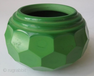 Antique Chinese Green Peking Glass Water Coupe  A stunning Chinese peking glass water coupe with faceted edges, in a monochrome emerald green color. The edges of the mouth have three ribbed steps down  ...