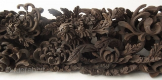 Antique Japanese Carved Panel of Chrysanthemums