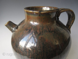 Antique Japanese Tenmoku Ware Handled Vessel